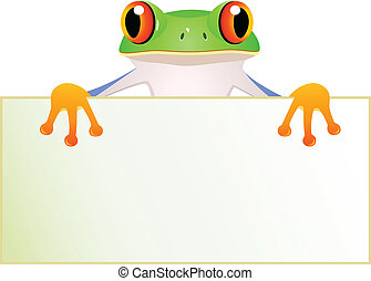 Frosch mit Bankzeichen.