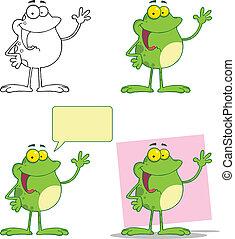 Frosch winkt mit einer Grußsammlung.