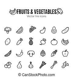 Frucht- und Gemüse-Ikone eingestellt. Veganische Bio-Piktogramme. Artichoke, Spargel, Weizen, Bananen, Trauben, Lauch, Knoblauch, Ingwer und andere organische Lebensmittelzeichen.