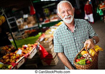 fruechte, älter, hübsch, gemüse, frisch, markt, mann, shoppen