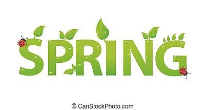 fruehjahr, blätter, grün, design