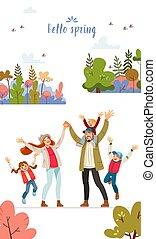 fruehjahr, glücklich, groß, children., natur, himmelsgewölbe, wind., gehen, hallo, blaues, forest., nature., mutti, vergnügen, vati, familie, drei, kommunikation, karte, frisch, sonne
