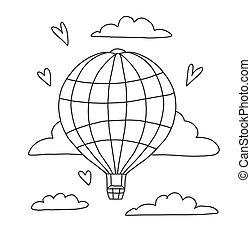 fruehjahr, home., fliegt, hand, färbung, gezeichnet, zeichnung, kreativität, seiten, balloon, children., abbildung, clouds., erwachsene, vektor, reihe, buch, kreativ