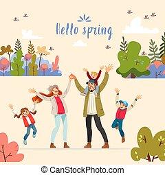 fruehjahr, vektor, groß, gruß, gehen, hallo, spielende , elternschaft, spring., family., nature., kinder, familie, abbildung, feundliches , karikatur, karte, kind-aufrichten, begriff