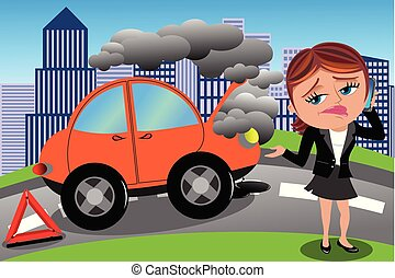 Frustierte Frau kaputtes Auto.