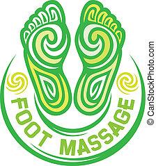 fuß, symbol, massage
