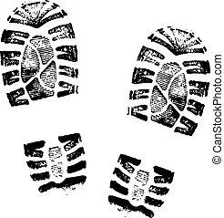 Fußabdrücke von menschlichen Schuhen.