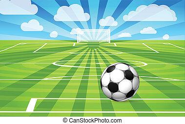 Fußball auf dem Rasen des Spielfeldes
