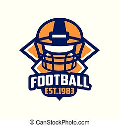Fußball, est 1983 Logo-Vorlage, American Football Emblem in orange und blau Farben, Sport-Team Insignia Vektor Illustration auf einem weißen Hintergrund.