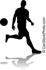 fußball, fußball, silhouette, spieler