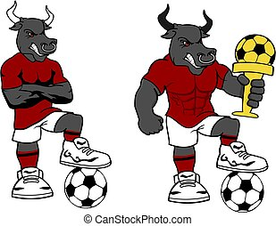 Fußball-Futbol starke Stier-Cartoon-Set.