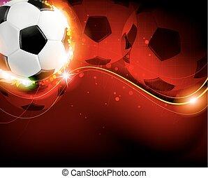 fußball, hintergrund, rote kugel