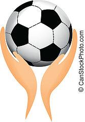 Fußball in seinen Händen