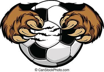 Fußball mit Bärentassenvektor