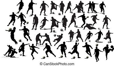 fußball, players., abbildung, vektor, schwarz, weißes, entwerfer