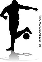 fußball, silhouette, footballspieler
