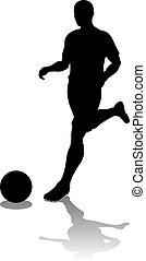 fußball, silhouette, spieler, fußball