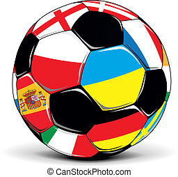 Fußballball mit Flaggen.
