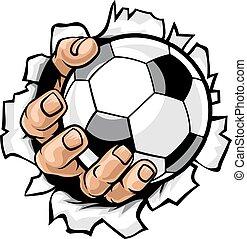 Fußballballhand reißt den Hintergrund
