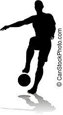 fußballfootball, silhouette, spieler