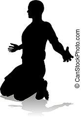 fußballfootball, spieler, silhouette