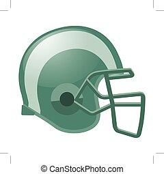 Fußballhelm in grüner Farbe mit weißem Streifen.