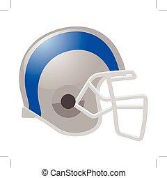 Fußballhelm in weißer Farbe mit blauem Streifen.
