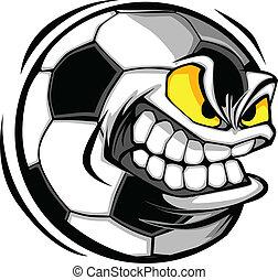 Fußballkugel in Richtung Cartoon Vektor