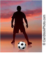 Fußballspieler im Hintergrund