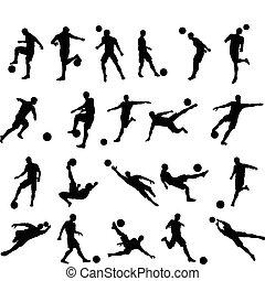Fußballspieler Silhouetten.