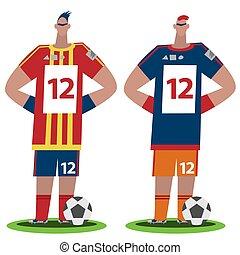 Fußballspieler stehen voll im Blickfeld