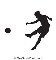 Fußballspieler treten Ball, Vektor Silhouette.