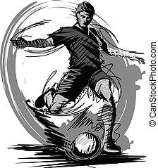 Fußballspieler tritt Ballvektor I