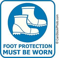 Fußschutzschild (Symbol zur Sicherheit)
