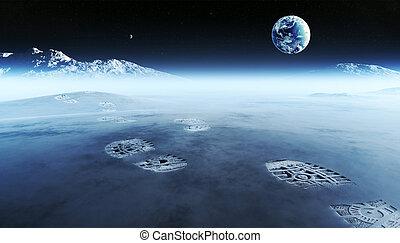 Fußspuren auf außerirdischem Planeten