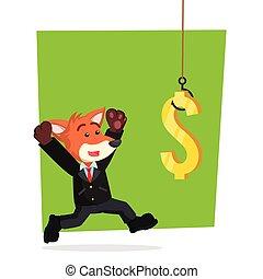 fuchs, dollar, festgehakt, geschaeftswelt