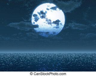 Ful moon over the sea. Vektor Illustration