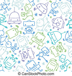 Fun doodle Roboter nahtlos Muster Hintergrund.
