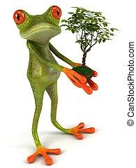 Fun Frog mit einer grünen Pflanze