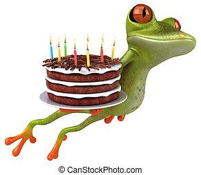 Fun Frosch mit einem Geburtstagskuchen - 3D Illustration.