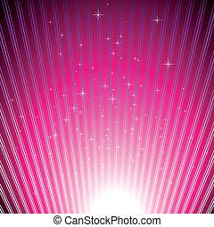 funkelnde Sterne auf glänzendem Magenta-Licht
