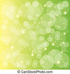 funkelnde Sterne blubbern im grünen gelben Hintergrund