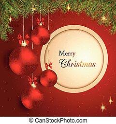 funkelnde Weihnachtskristallkugel im roten Hintergrund.