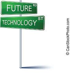 future-technology, zeichen., richtung