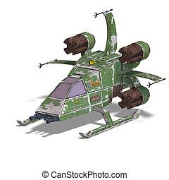 Futuristischer, transformierender Scifi-Roboter und Raumschiff