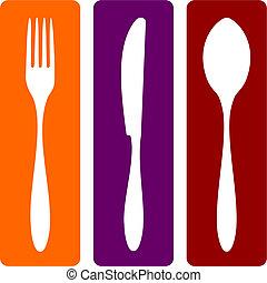 Gabel, Messer und Löffel