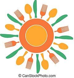 Gabel, Messer und Teller, organisiert wie die gelbe Sonne