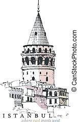 Galata-Turm zeichnet