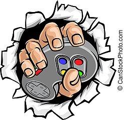Gamer Hand und Video Game Controller brechen Mauer.