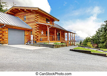garage., kabine, holzstamm, groß, vorhalle